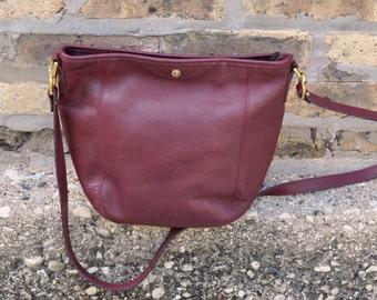 Burgundy Leather Duffle Style Shoulder Bag Crossbody