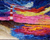 Lighthouse Art Quilt , Sunset Seascape , Silk Wall Hanging , 33 X 42 inches