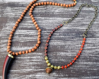 Two piece wooden boho necklaces