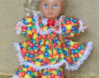 Shelbie, OOAK, Caucasian doll, M&M candy dress