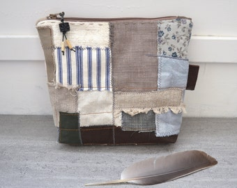 primitive patchwork toiletry bag - repurposed grey and brown zipper pouch - handstitched details - patchwork zipper pouch - gift for her