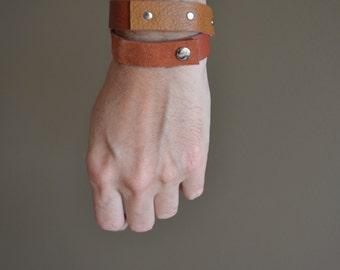 boho wrap bracelet rust and cognac genuine leather - gypsy festival bracelet - rust orange cognac wrap leather bracelet - gift for her -