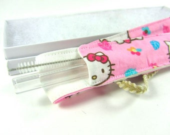 Hello Kitty Straw Pouch, Glass Straw, and Cleaning Brush- Customize!- FREE Gift Wrap- 7.5 inch Straw