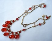 Art Deco Necklace Red Glass  Beads and Rhinestones 1920's 1930's