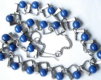 Vintage Horseshoe Nail Necklace Lapis Blue Glass Beads 1970's