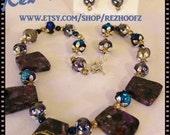 native gypsy Necklace and Earrings Purple sea sediment jasper pyrite