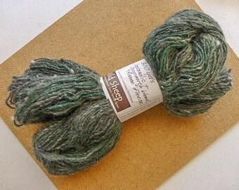 "Icelandic - Coopworth blend.  Handspun Yarn from WI sheep ""Renee"".  Greyed Green.  300 yds.  (#223)"