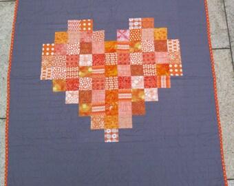 Modern Orange heart on grey quilt / throw / lap quilt gray child quilt orange and gray baby quilt - READY TO SHIP