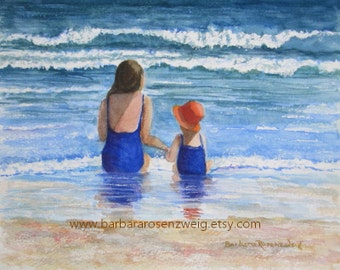 Beach Family Painting, Beach Girls Art Print, Ocean Beach Painting, Beach Wall Decor, Beach House Decor, Beach Art Gift, Barbara Rosenzweig