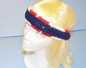Red/White & Blue Head Band, Crochet, Adjustable, 100 % Cotton, Made in the U S A