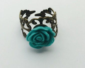 Turquoise Rose Ring, Copper/Brass Filigree Adjustable Ring, Item No. S106