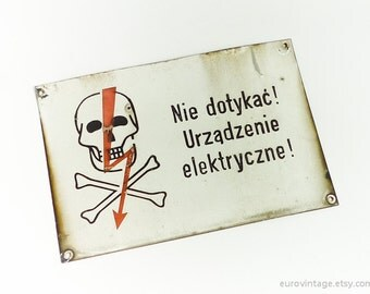 Vintage Industrial Metal Sign Electrical Devices Warning