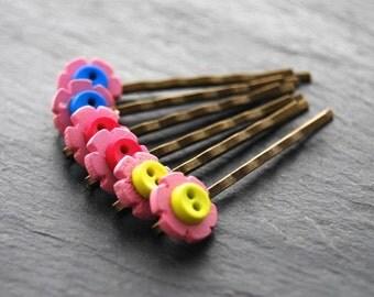 Girls Bobby Pins, Fun Hair Accessory, Flower Bobby Pins, Button Bobby Pins, Antique Brass, Children's Hair Accessory, Hair Pins, Accessory