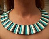 Mod 60's Bib Choker Statement Necklace Chunky Necklace