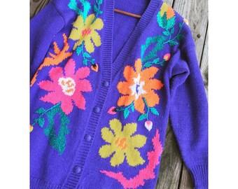 Vtg 80s Crazy Purple Floral Flower Power Knit Oversize Cardigan