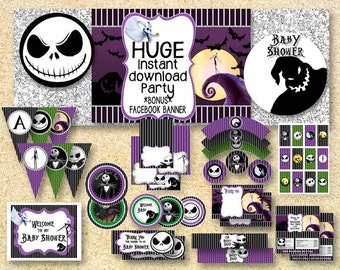 BABY SHOWER Nightmare Before Christmas, Printable Party Pack, Fall Printable, Instant Download, Jack Skellington, Halloween printable