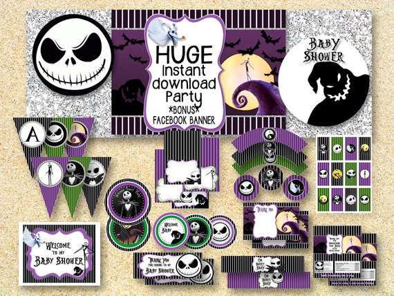 baby shower nightmare before christmas printable party pack