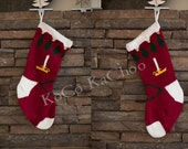 Candles & Trees Hand Knit Christmas Stocking