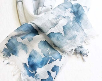 Hand Painted Scarf,  Blue and White Scarf, Blue Watercolor Scarf, Lightweight Scarf, Denim Blue Scarf, All Cotton Scarf, Blue Abstract Scarf