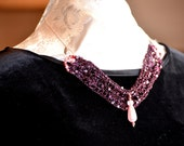 Necklace, crocheted metalic sequined thread with beads on silver snake necklace