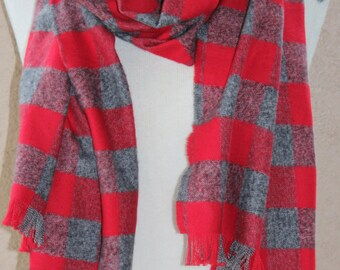 Zara Inspired Blanket Scarf | Blanket Scarf | Red and Gray Plaid Scarf |