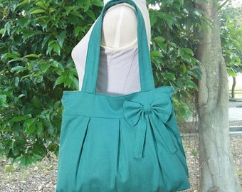 Summer Sale 10% off Turquoise green cotton canvas purse with bow / canvas tote bag / shoulder bag / hand bag / diaper bag
