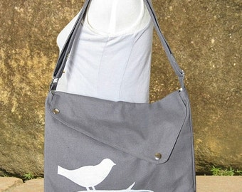 Summer Sale 10% off Gray cotton canvas messenger bag / shoulder bag / bird messenger /diaper bag / cross body bag