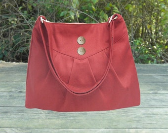 red cross body bag / messenger bag / shoulder bag / diaper bag  - cotton canvas