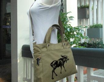 Olive canvas hand bag / tote bag / diaper bag / messenger bag / laptop bag / brief case, personalized screen print bag