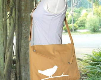 Yellow cotton canvas messenger bag / shoulder bag / bird messenger /diaper bag / cross body bag