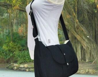 black cotton canvas bag / messenger bag / shoulder bag / cross body bag / everyday bag / diaper bag - 6 pockets
