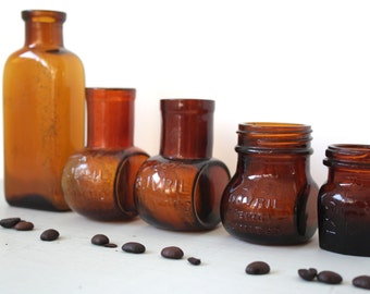 Collection of Vintage Amber Brown Bottle & Bovril Jars
