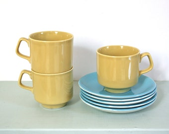 Vintage Trio of Retro Teacups in Mustard Yellow by Tams of England