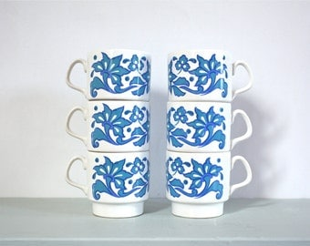 CLOSING DOWN SALE - 50% Off Set of Six Vintage Cups in Blue Retro Pattern by Staffordshire Potteries of England