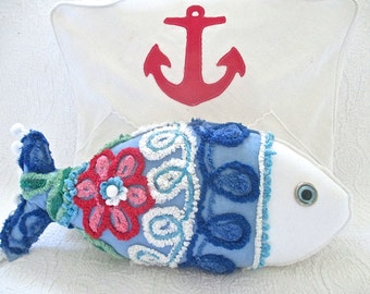 Nautical Vintage Chenille Fish Pillow, Glass Eye, Pompoms