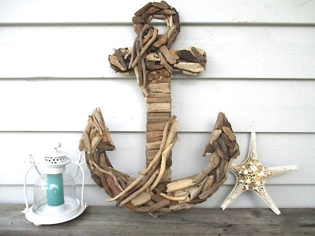 Large Nautical Wall Decor : Large driftwood anchor nautical wall decor by searchnrescue