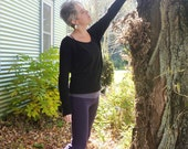 ON SALE - Women's Organic Wool Loose Top Hip Hugger Sweater  - Shown in Black - Made to Order