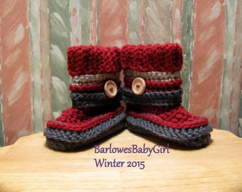 Buggs - Crochet Booties w/ Detachable Striped Band  in Burgundy, Grey, and Taupe