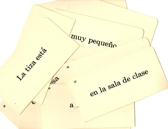 10 Vintage Spanish Flash Cards - Mixed Media, Altered Art, Assemblage, Collage, Scrapbooking, Journal Supplies