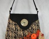 Quilted Cotton Shoulder Purse, Batik Tan and Black Geometric Design Medium Size
