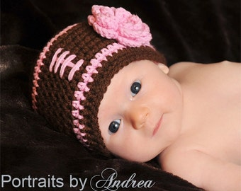 FALL SALE  Baby Girl Football Hat /  Pretty In Pink  / Newborn Hats / Baby Girl Hat  / Newborn Girl Hats