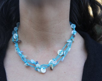 woven necklace // turquoise blue // triple strand // multi strand // vintage buttons // hemp twine // eco gifts // gifts for her