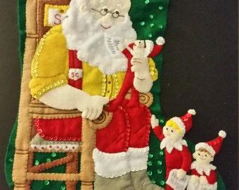 """Finished Felt Christmas Stocking """"Santa & Scout Elf 18"""" Stocking"""