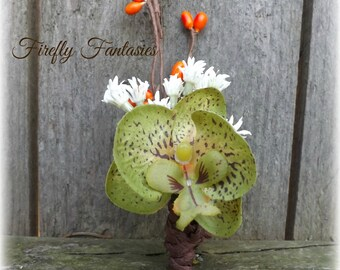 Country Rustic Fall Boutonniere - Mens Groom Orange Berry White Baby's Breath Green Orchid Brown Autumn Wedding