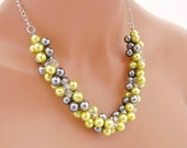 Chunky Yellow Pearl Necklace, Yellow and Gray Necklace, Statement Necklace, Pearl Bridesmaid Jewelry