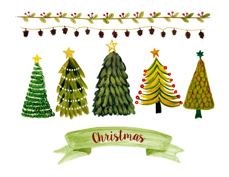 Christmas clipart watercolor christmas clipart christmas - Rosa tannenbaum ...