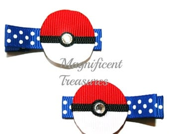 Pokeball Ribbon Sculpture Hair Clip