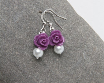 Flower girl earrings, Purple rose earrings, girl earrings, purple wedding Jewelry, flower girl earrings, Junior bridesmaids earrings