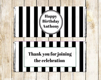 Black And White Stripes Candy Bar Wrappers Label Stickers Party Decorations Baby Sprinkle Adult Birthday Bridal Shower Items Printable