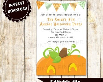Halloween Invitation - Kids Party Invites Pumpkin Editable File Instant Download